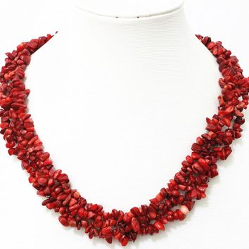 Charms red natural coral stone 9x11mm irregular gravel chips beads chains necklace for women elegant jewelry making 18inch B522