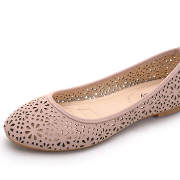 Mila Lady (DINA-6) New Laser Cut Perforated Slip ON Ballerina Flat Shoes Pink 5.5 B(M) US '