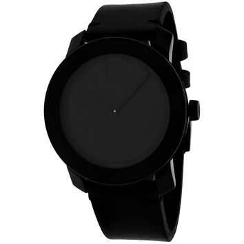Movado Men's 3600306 Bold Round Black Leather Strap Watch