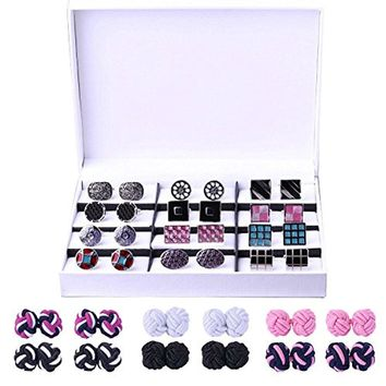 BodyJ4You 24 Pairs Cufflink Two Tone Classy Stylish Elegant Men's Silk Knot Cuff Links Gift Box Set
