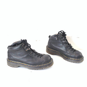 vintage DOC Martens vtg dr marten boots 90s goth chunky heel DM lace up hiking ankle booties size 8