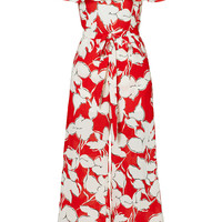 J.O.A. Red Floral Off Shoulder Jumpsuit