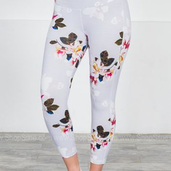 Athletic Sports Capris | Floral Stripes