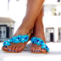 "Pom Pom Sandals, Turquoise Leather Sandals, Greek Sandals, ""Mykonos Blue"" Blue Sandals, wedding shoes, barefoot sandals,"