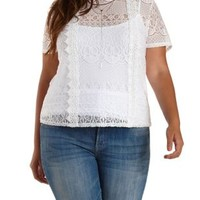 Plus Size White Lace & Crochet High-Neck Top by Charlotte Russe