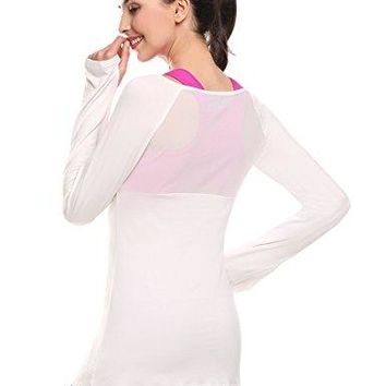 Hotouch Womens Extra Long Sleeve Stretchy T Shirt Sheer Mesh Back Tops RunningnbspShirt