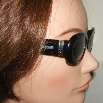 Vintage MOSCHINO Sunglasses Retro Thick Heavy Black Plastic Frame Persol Italy