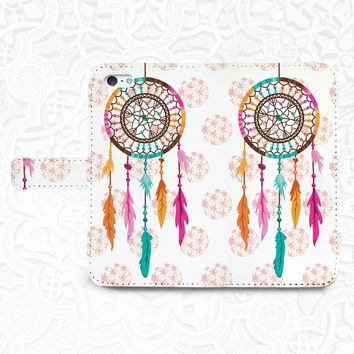 Dream Catcher iPhone/smartphone flip PU leather Wallet case for iPhone 6, 6 plus, 5, 5s, 5c, iPhone 4, 4s- Samsung, Nexus 6, HTC M9