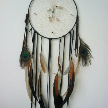 sacred path.... OOAK large 12 inch protective Dream Catcher