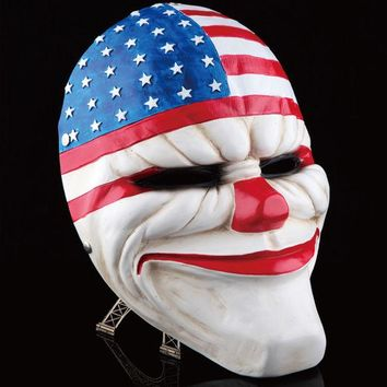 DKF4S Payday 2 Mask Resin The Heist Dallas/Wolf/Chains/Hoxton cosplay halloween horror clown masquerade cosplay Carnaval Costume men