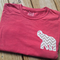 Comfort Colors Long Sleeve T-Shirt with Chevron Alabama Elephant Appliqué