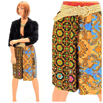 Vintage 80s high waisted shorts / S / M  / 1980s bright paisley  shorts / sequined floral culottes / retro boho high waist long shorts