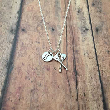 Oars initial necklace - oars charm necklace, gift for rower, rowing crew necklace, oars necklace, rowing necklace, silver oars necklace