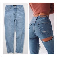 Fashion Casual Butt Ripped Hollow High Waist Jeans Long Pants