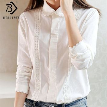 Women Button Down Cotton Shirt Top With Embroidery and Lace Detailing