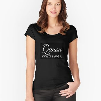 'QANON WWG1WGA GIFT ITEMS' Women's Fitted Scoop T-Shirt by EmilysFolio