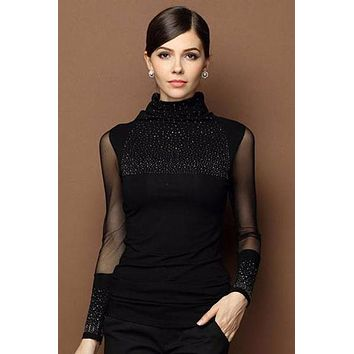 Turtle Neck Lace Beaded Black Top