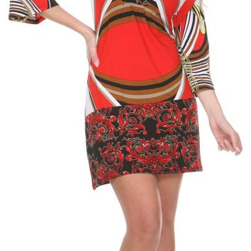 Madelyn Print Dress in Red Brown Short Shift V Neck 3/4 Sleeves