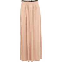 Cream side split belted jersey maxi skirt - maxi skirts - skirts - women