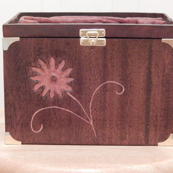 Art Carved  Mahogany Wood Memento Box complete with Art and Crafts Style Tulip  brass hinged lid fitted with removable interior tray