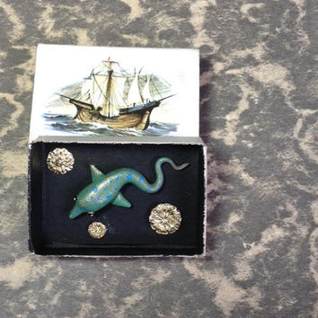 Dolphin creature, poppy seed pods and polymer clay, matchbox art, miniature specimen box, handmade nature art box, gold and blue