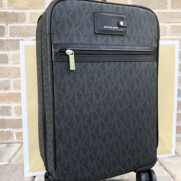 Michael Kors Travel Trolley Carry On Suitcase Black MK Signature