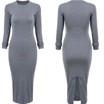 Long Sleeve Slim Ladies One Piece Dress [274458673181]