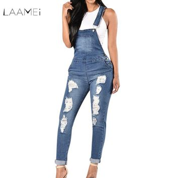 69e638a6e0b Laamei 2018 New Spring Women Overalls Cool Denim Jumpsuit Ripped