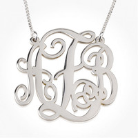 Sterling Silver Medium Split Monogram Necklace