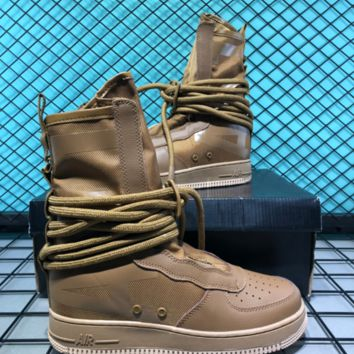 Nike SF AF1 Mid Hollow For Women Men Casual Skate Shoes Sand