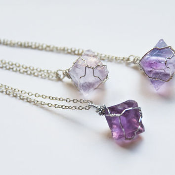 LATE SHIP SALE Wire wrapped fluorite octahedron necklace (4 options)