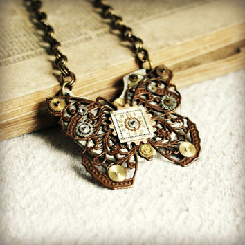 """Steampunk Butterfly Necklace with Bronze Filigree, Vintage Watch Parts and Gears on an Antiqued Brass Chain - 18"""" - OOAK - Ready to Ship"""