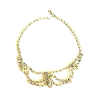 Clear Rhinestone Draped Choker Necklace 1950s