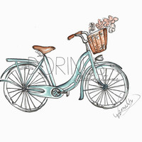 Bicycle illustration,art print, made of original, bicycle watercolor painting