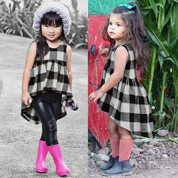 Toddler Kids Baby Girls Clothes Plaid Sleeveless Pageant Party Princess Dress