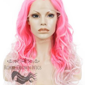 """24"""" Heat Safe Synthetic Wig Lace Front """"Rani"""" with Curly Texture in Pink Ombre"""