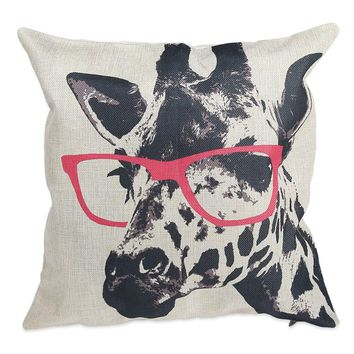 Hot Selling High Quality Glasses Giraffe Cotton linen Pillow Case For office/bedroom/chair seat cushion 45x45 cm Free Shipping