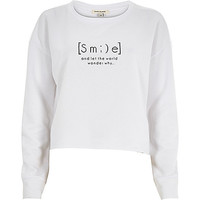 River Island Womens White smile print cut off sweatshirt