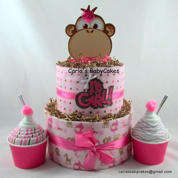 Monkey diaper cake,Girl diaper cake,Baby shower gift,Ice Cream Sundae gift,New mom gift,Shower decoration,New baby gift,Pink diaper cake