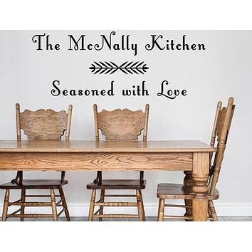 Seasoned With Love Custom Family Name Kitchen Decal, Family Name Monogram
