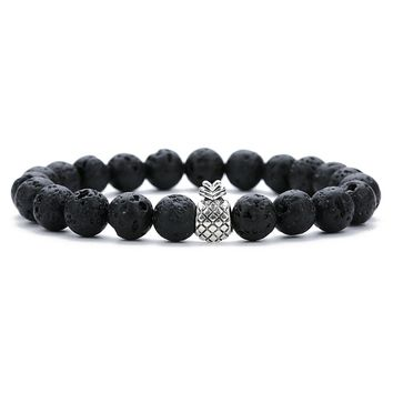 Exweup Pineapple Couples Distance Relationship Bracelet Natural Stone White and Black Beaded Bracelets for Men Women Best Friend