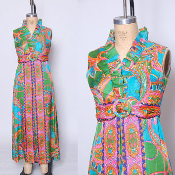 Vintage 60s PSYCHEDELIC Maxi Dress MOD Floral Dress BRIGHT Paisley Print Dress Hippie Dress
