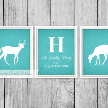 Family Name Sign with Deer Couple Print - Last Name and Established Date, Anniversary, Wedding // HomeDecor // Deer Hunting Art - 8x10 Print