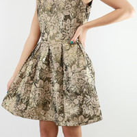 Mesmerize Me Gold Rose Print Sleeveless Scoop Back Pouf Dress