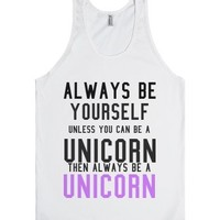 Unicorn-Unisex White Tank