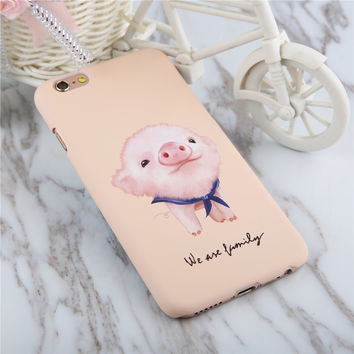 Cute Animal Dog Frosted Case For Iphone 5 5s SE 6 6S 7 Plus Phone Cases Coque Cartoon Pig Rabbit Hard PC Matte Capa Shell Fundas