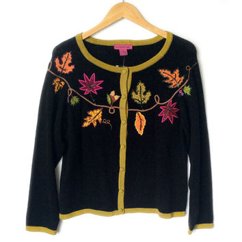Autumn Leaves Fall Theme / Thanksgiving Cardigan Ugly Sweater