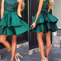 Green High Neck Homecoming Dress,Satin Crystal Beadings Homecoming Dresses