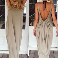 Khaki Sleeveless Ruched Maxi Dress