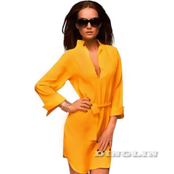 Fashion Dresses Women Long Sleeve Office Bandage Tunic Cocktail Party Chiffon Sexy Mini Shirt Dress Yellow CL1600